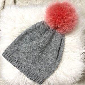 Grey Knit Toque with Pink Faux Fur Pom Pom